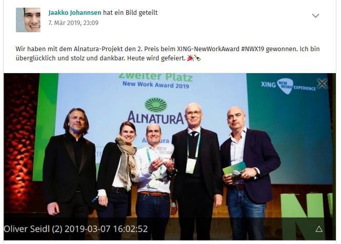 Jaakko Johannsen beim XING Award NWX19