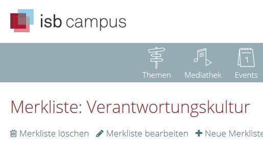 isb campus: Merkliste Verantwortungskultur
