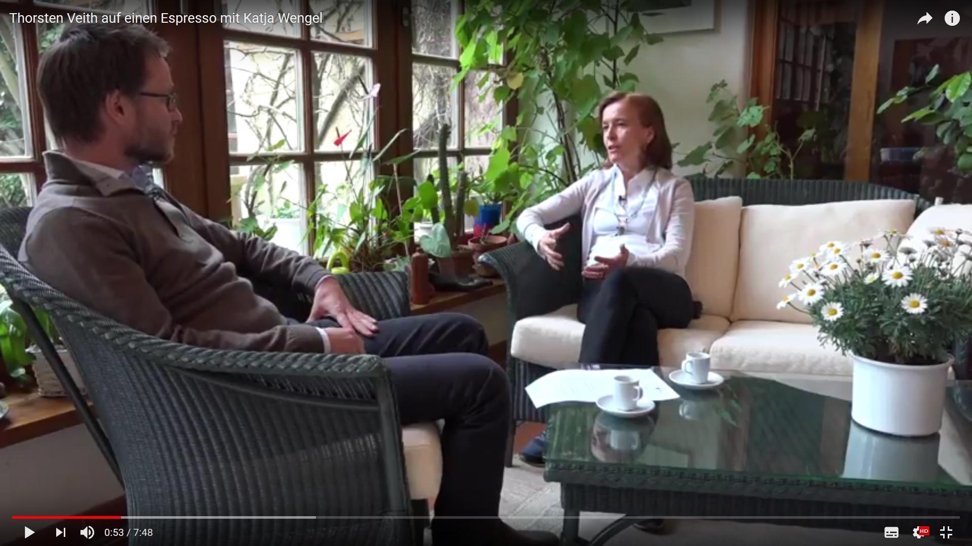 Katja Wengel und Thorsten Veith beim Espresso