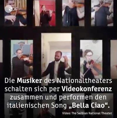 Serbisches NT spielt Bella Ciao/Quelle: ARD