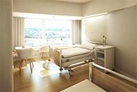 Abbildung 1: So wird ein Patientenzimmer nach der Innensanierung im Zentralklinikum aussehen. (Abb. wörner traxler richter)