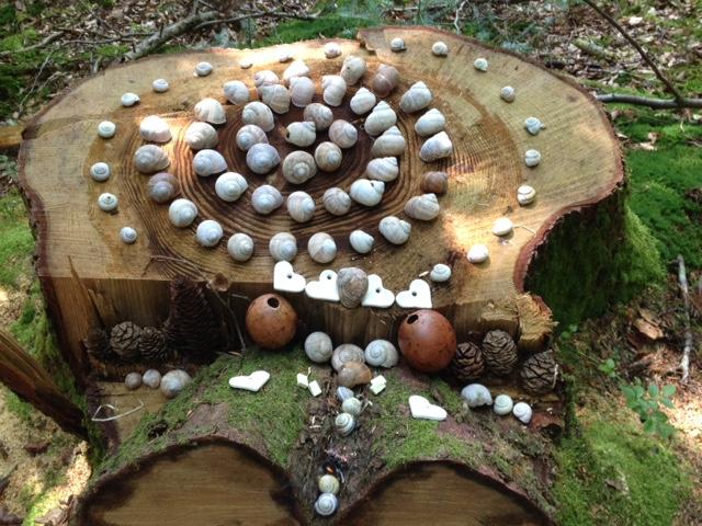 Spirale mit Schneckenhäusern