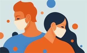 Menschen mit Masken