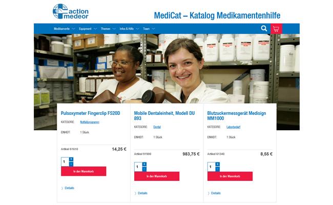 Ausschnitt aus MediCat von action medeor