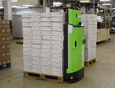 Innerhalb weniger Stunden konnte für den selbstfahrenden Transportroboter der gesamte Produktionsbereich der Backwarenherstellung eingelernt und digitalisiert werden, Bild: S. Spitz GmbH