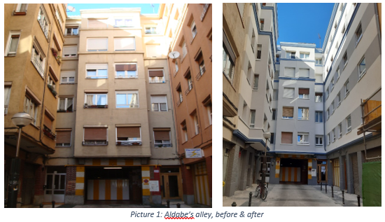 Before & after in Aldabe's alley in demo district Coronación. Picture@VISESA