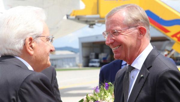 Itali. Präsident Sergio Mattarella mit Wilfried Haslauer