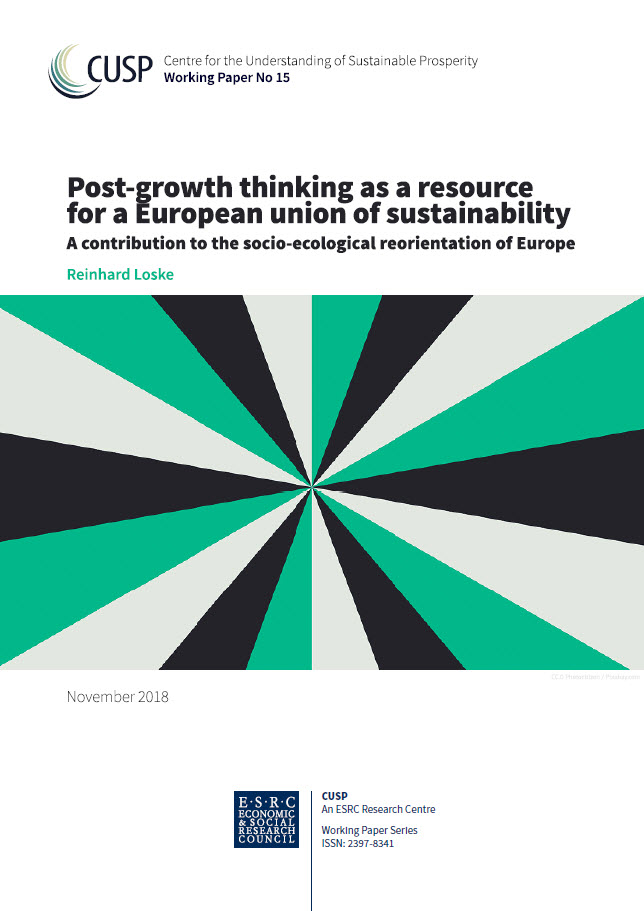 """Titel Arbeitspapier """"Post-growth thinking as a resource for a European union of sustainability – A contribution to the socio-ecological reorientation of Europe"""", Quelle: cusp.ac.uk"""