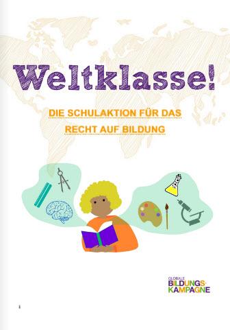 Titelseite Material zur Weltklasse!-Aktion der Globalen Bildungskampagne (GBK) 2021. Quelle: bildungskampagne.org