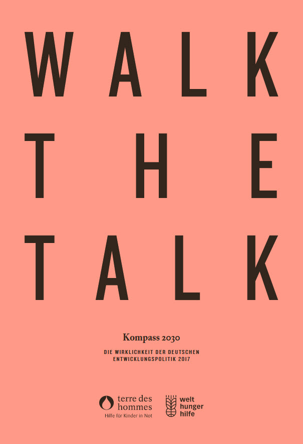 "Titelseite des ""Kompass 2030: Walk the Talk."" Quelle: welthungerhilfe.de"