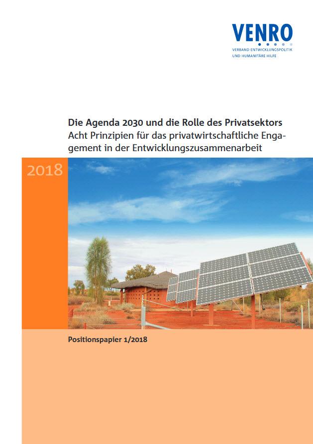Titelseite des VENRO-Positionspapiers: Die Agenda 2030 und die Rolle des Privatsektors. Quelle: venro.org