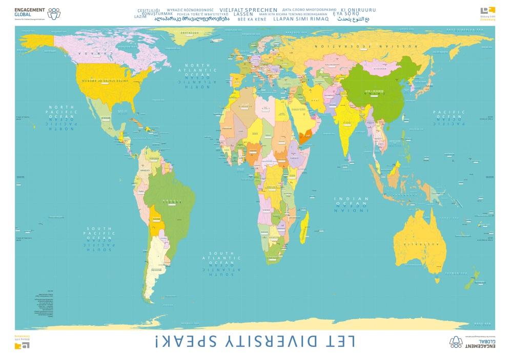 """Weltkarte """"Vielfalt sprechen lassen"""" von Bildung trifft Entwicklung (BtE)"""