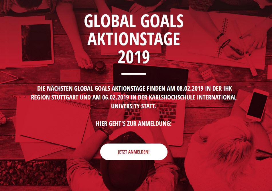 Screenshot Startseite Global Goals Aktionstage. Quelle: globalgoals.de