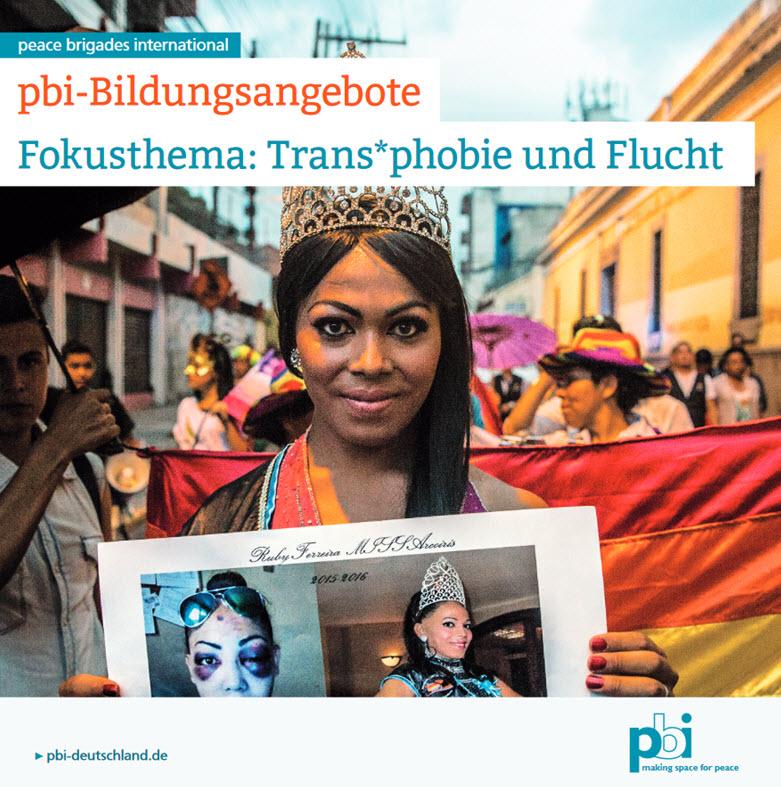"""Titelseite Broschüre """" Fokusthema: Trans*phobie und Flucht"""". Quelle: pbi"""