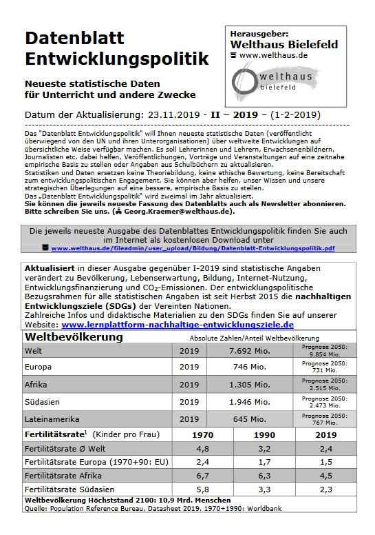Datenblatt Entwicklungspolitik November 2019. Quelle: Welthaus Bielefeld