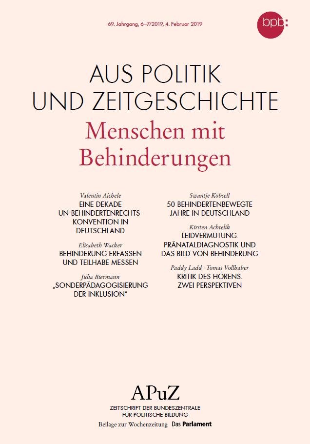 """Cover APUZ """"Menschen mit Behinderungen"""". Quelle: bpb.de"""