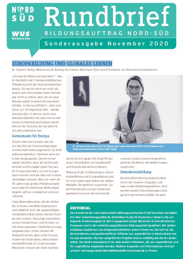 Titelseite Sonderausgabe Rundbrief Bildungsauftrag Nord-Süd, November 2020. Quelle: WUS
