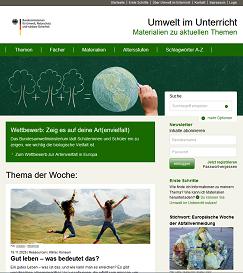 Screenshot Startseite umwelt-im-unterricht.de