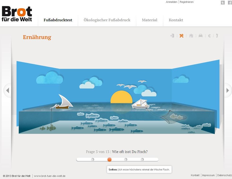 Ausschnitt Online-Test zum Ökologischen Fußabdruck. Quelle: Brot für die Welt