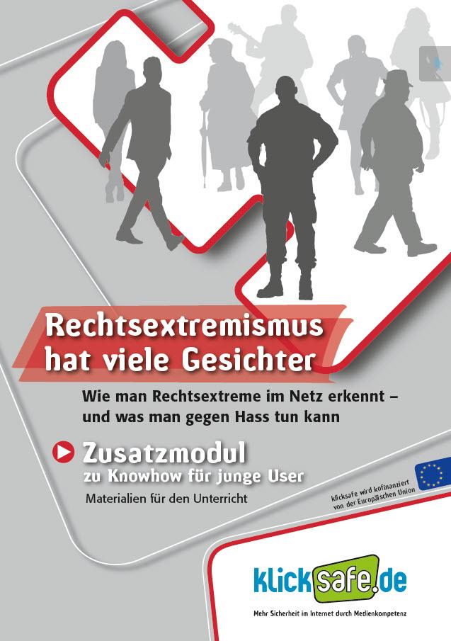 """Titelseite """"Rechtsextremismus hat viele Gesichter"""". Quelle: klicksafe.de"""