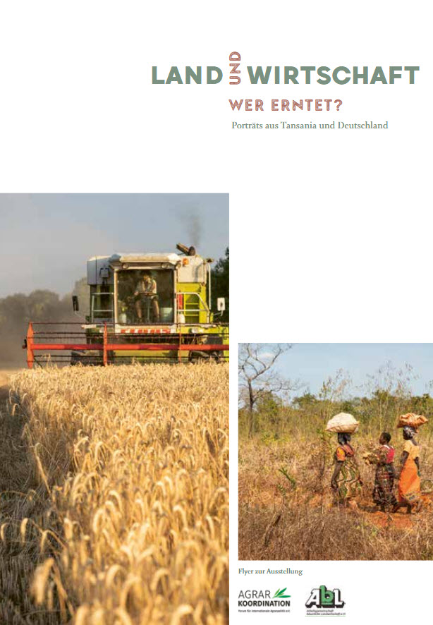 """Titelseite des Flyers zur Ausstellung """"Land und Wirtschaft – wer erntet?"""". Quelle: agrarkoordination.de"""