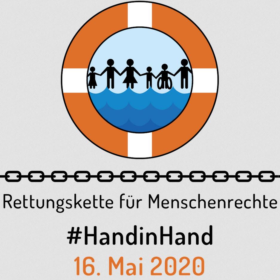 Logo Rettungskette für Menschenrechte. Quelle: rettungskette2019.de