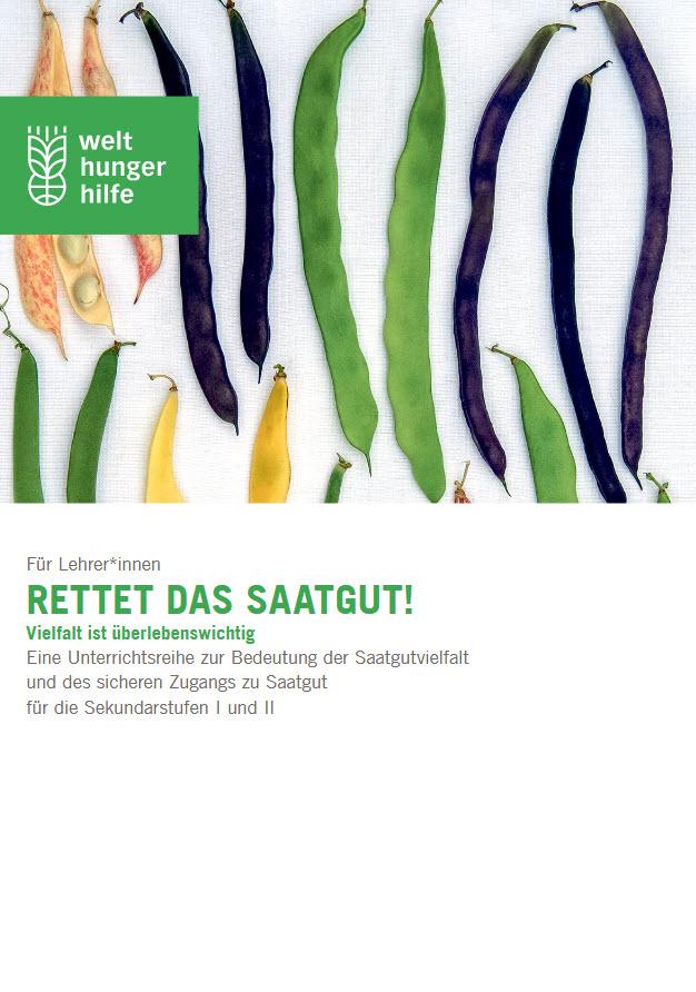 """Titelseite Lehrer*innenheft """"Rettet das Saatgut! Vielfalt ist überlebenswichtig."""" Quelle: welthungerhilfe.de"""
