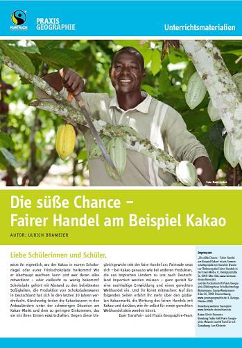 "Titelseite Material ""Die süße Chance - Fairer Handel am Beispiel Kakao"". Quelle: TransFair e.V."