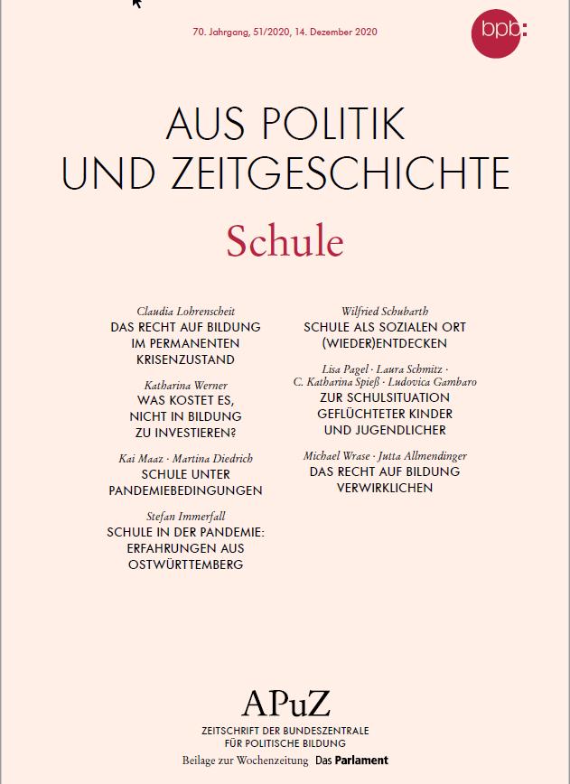 """Titelblatt APuZ """"Schule""""  Quelle: bpb.de/shop/zeitschriften/apuz/322699/schule"""