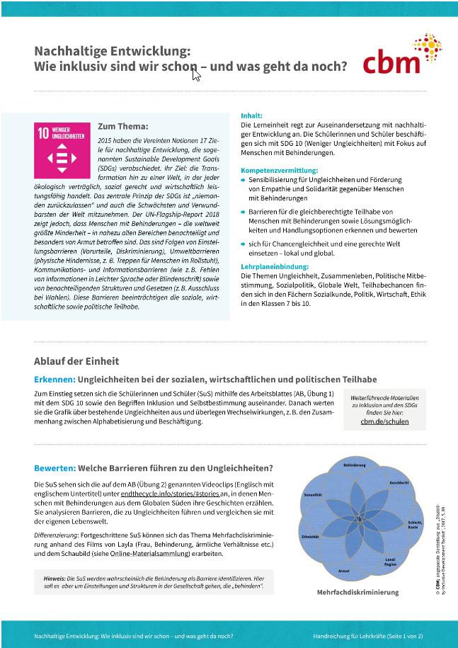 CBM Lerneinheit SDG10 Fokus Menschen mit Behinderung Quelle: CBM.de