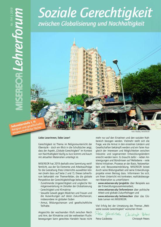"""Titelseite MISEREOR-Lehrerforum Nr. 114 zum Thema """"soziale Gerechtigkeit"""". Quelle: MISEREOR"""
