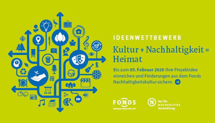 """Aufruf zum Ideenwettbewerb """"Kultur + Nachhaltigkeit = Heimat"""". Kultur. Quelle: tatenfuermorgen.de"""