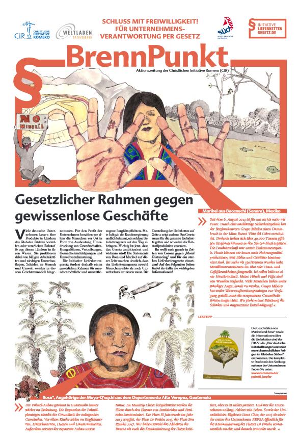"""Titelseite der Aktionszeitung """"Brennpunkt: Schluss mit Freiwilligkeit! Für Unternehmensverantwortung per Gesetz"""". Quelle: CIR"""