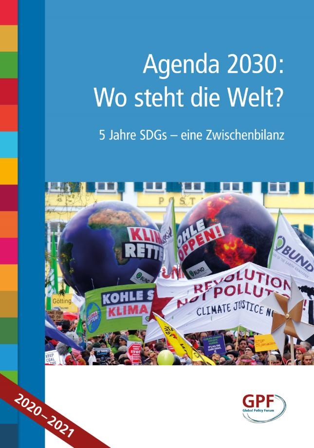 """Cover Buch """"Agenda 2030: Wo steht die Welt? 5 Jahre SDGs – eine Zwischenbilanz"""". Quelle: Global Policy Forum Europe"""