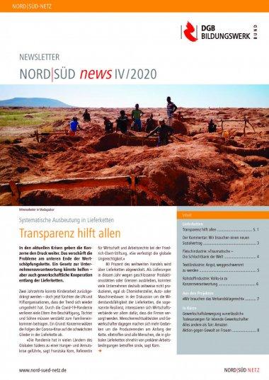 Cover Newsletter NORD I SÜD news zum Thema Ausbeutung in Lieferketten. Quelle: dgb-bildungswerk.de