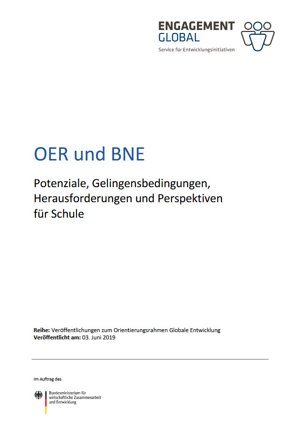 "Titelseite Papier ""OER und BNE"". Quelle: Engagement Global"
