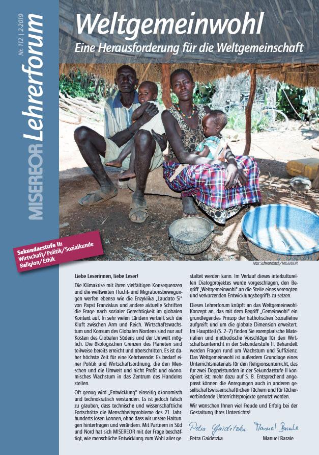 Misereor Lehrerforum Weltgemeinwohl Titelseite. Quelle: misereor.de