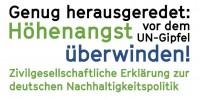 """Zivilgesellschaftliche Erklärung zur deutschen Nachhaltigkeitspolitik: """"Genug herausgeredet: Höhenangst vor dem UN-Gipfel überwinden!"""" Qulle: www.forumue.de"""