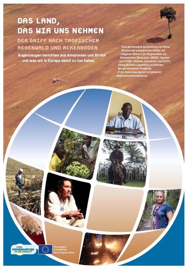 """Titelseite der Broschüre zur Ausstellung """"Das Land, das wir uns nehmen"""" des Klima-Bündnisses overdeveloped. Quelle: overdeveloped.eu"""