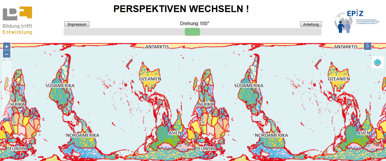 """Die digitale Weltkarte """"Perspektiven wechseln"""" von Bildung trifft Entwicklung. Quelle: das-weltspiel.com"""