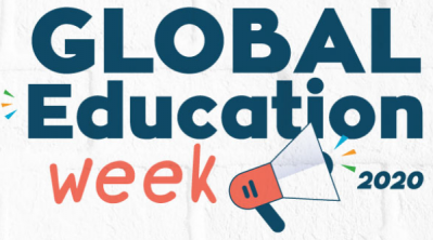 """It's our world. Let's TAKE ACTION!"". Logo der Global Education Week 2020"