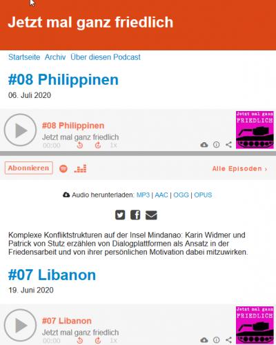 "Screenshot Podcast ""Jetzt mal ganz friedlich"". Quelle: jetzt-mal-ganz-friedlich.podigee.io"