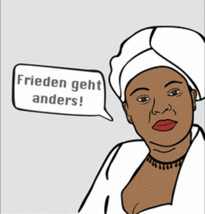 """Bild von Leymah Gbowee auf Flyer Ausstellung """"Frieden geht anders!"""". Quelle: Zentrum Oekumene"""