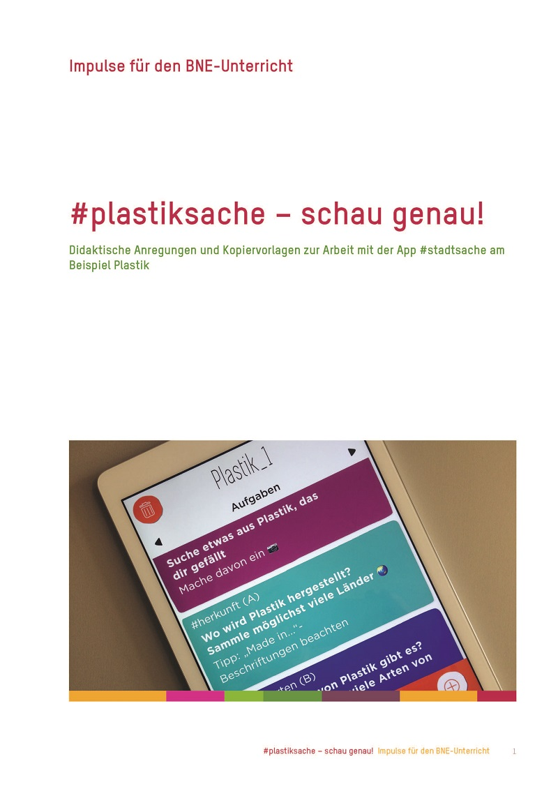 "Titelseite Material ""#plastiksache – schau genau!"", Quelle: catalogue.education21.ch"