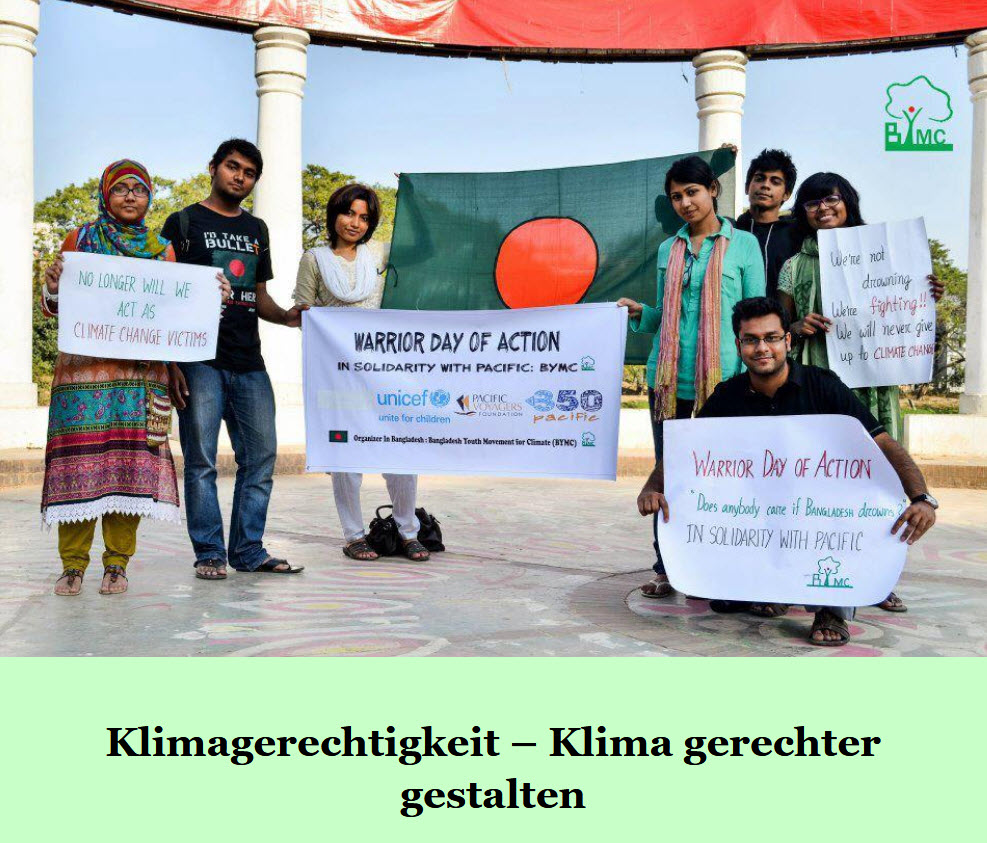 """usschnitt Titelseite Bildungsmaterial """"Klima gerechter gestalten – Digitales Bildungsmaterial"""". Quelle: https://bangladesch.org"""