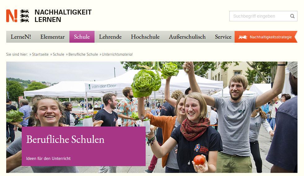 Foto einer Schnippeldisko, Screenshot von https://www.bne-bw.de/schule/berufliche-schule/unterrichtsmaterial.html