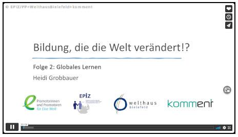 """Video-Vortragsreihe """"Bildung, die die Welt verändert!?"""". Quelle: EPIZ"""