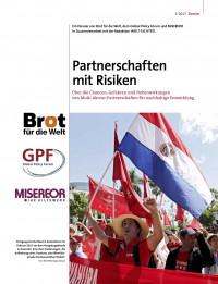 Titelseite Dossier Partnerschaften mit Risiken. Quelle: MISEREOR