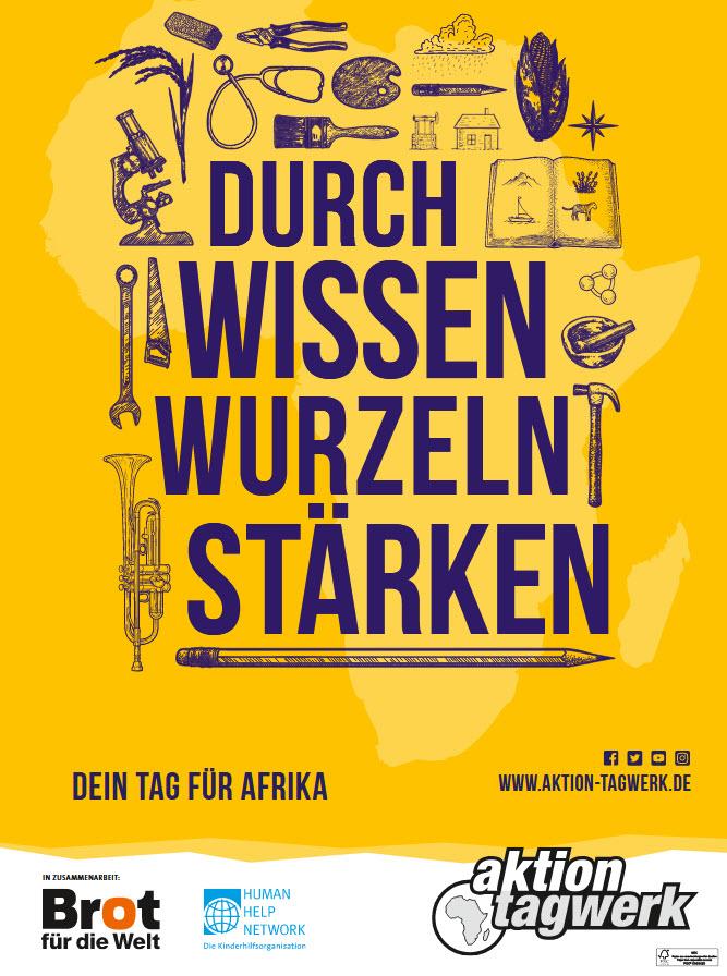 """Kampagnenplakat 2018 der Aktion Tagwerk: """"Durch Wissen Wurzeln stärken"""". Quelle: aktion-tagwerk.de"""