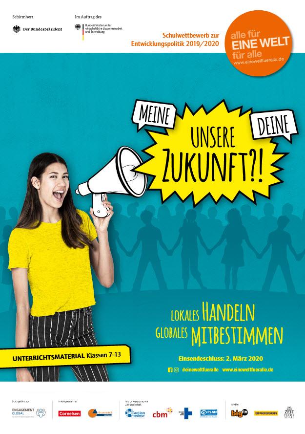 """Titelseite Material """"Meine – deine - unsere Zukunft?! Lokales Handeln – Globales Mitbestimmen"""" für die Sekundarstufen. Quelle: eineweltfueralle.de"""